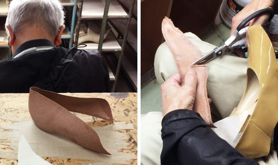 写真:かかとに挟む床革のカウンター(月型芯)とそれを加工する様子