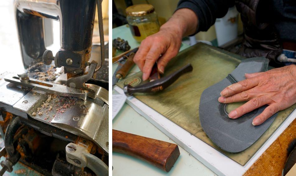 写真:鋤き(すき)を施す機械と、甲革を作業台にのせる安田さん